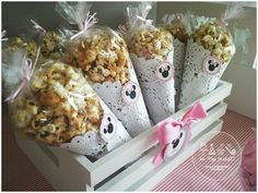 Minnie Mouse birthday party popcorn! See more party planning ideas at CatchMyParty.com!
