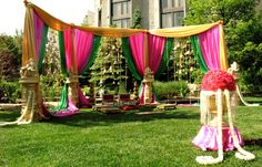 outdoor mandap open concept shape i like - I am ok with these colors too.  I like the variation.