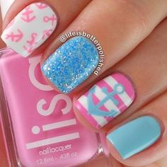 manicure -                                                      Nautical mani in candy colors ===== Check out my Etsy store for some nail art supplies www.etsy.com/...