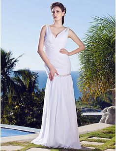 Sheath/Column V-neck Dropped Floor-length Sleeveless Backless Chiffon Elegant Luxurious Beach/Destination Wedding Dress #170018(More color o...