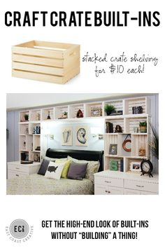 DIY Built-in Shelves using craft crates