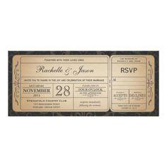 Vintage Wedding Ticket  Invitation with RSVP 3.0 wedding , vintage , ticket , custom , wed , antique , train , rsvp , attach , personalized invitations