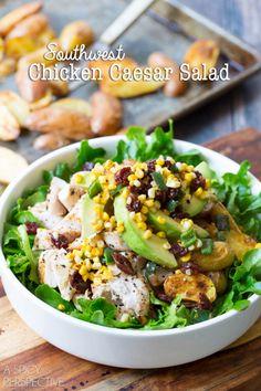 Southwest Chicken Caesar Salad #chicken #salad (black beans instead of cherries)