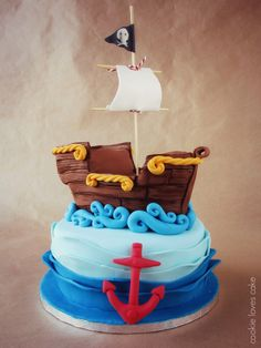 Tarta de cumpleaños barco pirata (Pirate ship birthday cake)