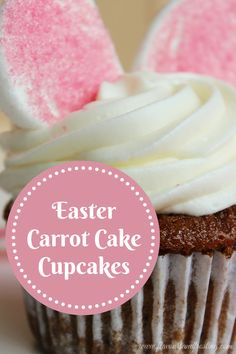 Carrot Cake Cupcakes for Easter soaked with a delicious buttermilk glaze and topped with cream cheese frosting | FlavoursandFrosting.com