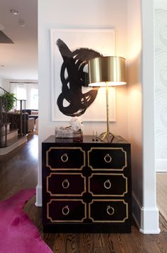 draper chest, hot pink cowhide rug