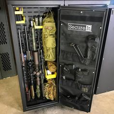 All decked out in military gear, the Agile 52 is one of the most versatile options for gun storage needs! Weapon Storage, Gun Storage, Gun Safe Accessories, Hidden Gun Safe, Gun Rooms, Safe Room, Home Defense, Military Guns, Assault Rifle