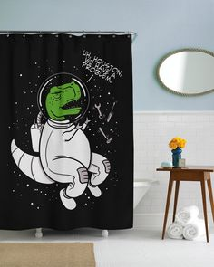Houston, We Have a Problem Trex Shower Curtain | CrazyDog T-shirts