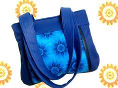 AZORA : Sac bandoulière coton entoilé fleurs stylisées camaïeu de bleu et simili cuir bleu cobalt