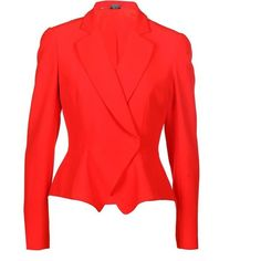 Alexander Mcqueen Peplum Waist Jacket (22,405 PHP) ❤ liked on Polyvore featuring outerwear, jackets, red, cropped blazer, alexander mcqueen jacket, red jacket, peplum jackets and red peplum jacket