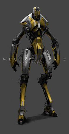 Mech Design 2 by Tyler Ryan Cyberpunk, Robots Characters, Sci Fi Armor, Robot Concept Art, Robot Design, Conceptual Design, Futuristic Design, Science Fiction Art, Character Concept