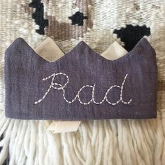 Items similar to Rad hand embroidered muted navy gray linen cotton kids birthday hat costume crown on Etsy Hanging Photos, Wool Felt, Hand Embroidery, To My Daughter, Trending Outfits, Costumes, Navy, Handmade Gifts, Crown
