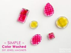 Simple DIY jewel magnets with sheer color decoupage