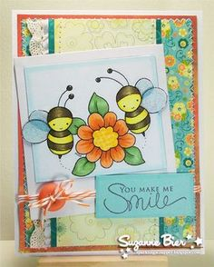 Card designed by Suzanne for Whimsy and Stars Studio Digital stamps. Digital Stamp: Spring Bees