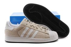 zapatillas adidas superstar 2 mujer stripe d65470 beige blancas