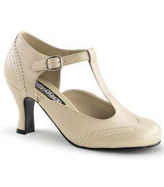 Funtasma Cream T-strap Kitten Heels