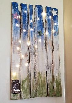 It is an outstanding wall art idea and it is perfect for the kid's room as they love to decorate their room like the fantasy world. The stars can make their room attractive for them, so this idea can be copied easily with the wood pallets and the ready-made lights.