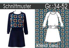 """Hier gibt es das Schnittmuster und die Nähanleitung für das Kleid """"Lea"""" als Ebook. Größensatz:34-52 Trendiger lässiger Schnitt für Jersey geeignet,sehr einfach zu nähen. Knielanges Kleid,etwas..."""