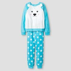 Girls' Polar Bear Cozy Pajama Set - Blue