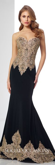Formal Evening Gowns by Mon Cheri - Fall 2017 - Style No. 217831 - black and gold metallic lace fit and flare evening dress
