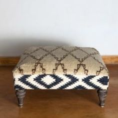 Moroccan Tribal Rug Ottoman - Natural / Black My next DIY project