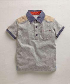 Boys Grey Jersey Poloshirt