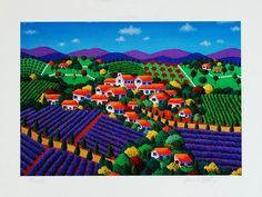 """Le Beau Village"" (unframed: 7 x 10 inches) US$29 by Joanne Netting, available wholesale, worldwide (free shipping), from the artist; email: mailto:jnetting2@... This is a limited edition signed mini print reproduced from an original acrylic on canvas painting.  © Joanne Netting 1993. #art"