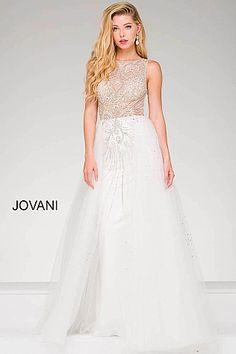 White Embellished Sheer Bodice Prom Dress 47717