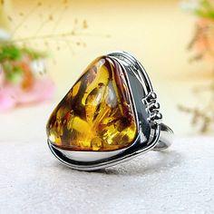 Golden Baltic Amber Ring