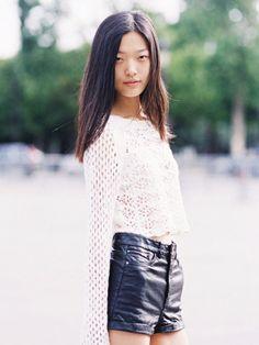 Pair a feminine crochet top with leather shorts // #StreetStyle  #streetstylebijoux, #streetsyle, #bijoux