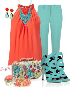 """Coral with a Clutch #2"" by suzi70 ❤ liked on Polyvore"