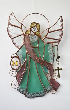 Stained glass Guardian Angel, Religious window art, Unique Angel wall decoration, Decorative Angel decor, Christmas colored glass Angel
