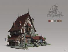 ArtStation - 《Blacksmith shop》, G xy Fantasy Town, Fantasy House, Medieval Fantasy, Building Concept, Building Art, Building Design, Environment Concept Art, Environment Design, Fantasy Landscape