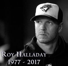 """""""We are saddened by the tragic news that Roy Halladay, Cy Young Award winner & All-Star, has died in a plane crash. Mlb Pitchers, Cy Young Award, Fantasy Football League, Base Ball, Basketball Uniforms, Buy Basketball, Perfect Game, Knee Injury, Toronto Blue Jays"""
