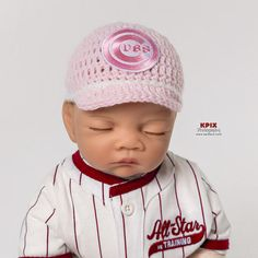 ae0369ae0156a Chicago Cubs Baseball Hat for newborn baby boy or girl - preemie sizes  available by photopropsnmore