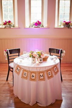 Sweetheart table at reception