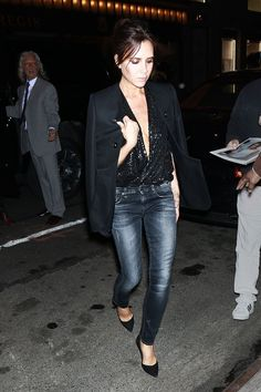 When You're A Minimalist, But Also A Spice Girl #refinery29  http://www.refinery29.com/2016/01/101670/victoria-beckham-street-style-pictures#slide-14  Even the most minimal of minimalists can't resist a little bit of sparkle every now and then....
