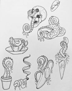 Tentacle themed flash sheet I did up! All designs are available to be tattooed  I'm really keen to do some original designs, so hit me up and I'll do a special deal for anyone wanting an original design  #art #artist #artistofinstagram #artwork #linedrawing #creative #drawing #lineart #linearttattoo #myart #tentacles #food #tentacle #flashsheet #handdrawn #onlineart #lined #tattoodesigns #instaart #neotraditional #apprentice #tattootrainee #tattoodesign #tattooapprentice #beginner #lear...