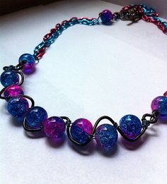 two toned pink and blue crackle glass wire by BeadingByJenn, $20.50