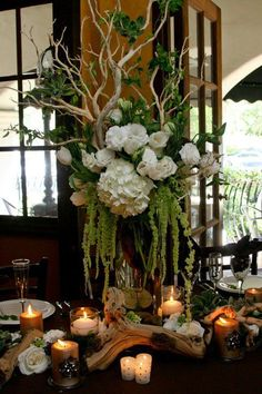 I love this floral arrangement - Manzanita branches, hydrangeas, hanging amaranthus, tulips, roses and lisianthus. Floral Centerpieces, Table Centerpieces, Wedding Centerpieces, Wedding Table, Wedding Decorations, Manzanita Centerpiece, Manzanita Branches, White Centerpiece, Centrepieces