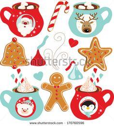 Hot Chocolate (Christmas) - stock vector