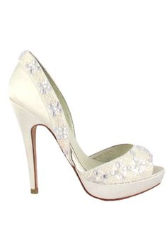 bcbd53052aa Menbur Bridal Pumps with Embellishments in Ivory Sparkly Wedding Shoes