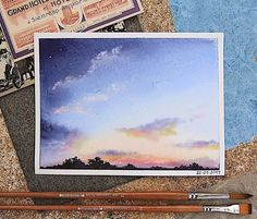 New Painting Watercolor Beautiful Water Colors 38 Ideas Watercolor Clouds, Watercolor Landscape, Landscape Paintings, Painting Clouds, Landscape Art, Sketch Painting, Gouache Painting, Watercolor Paintings, Painting Art