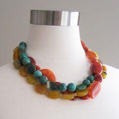Tri-Color Stone Necklace, Orange, Yellow, Turquoise