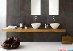 Деревянная столешница в ванной