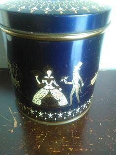 Vintage blauw met goud ,victoriaans tafereel.