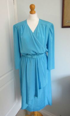 Vintage 1980's Turquoise Blue C&A Power Dressing Silky Secretary Dress UK 10 12 in Clothes, Shoes & Accessories, Vintage Clothing & Accessories, Women's Vintage Clothing   eBay