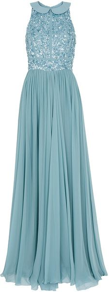 Beaded Top Silk Gown