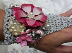 Pink and Silver Wedding Cuff Fingerless Glove Bridal Wrist Corsage Hand Crocheted Lace Rhinestones and Enamel Flowers and Vintage Jewels on Etsy, $38.00