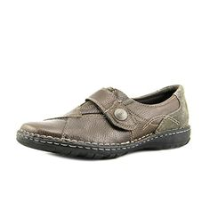 Earth Origins Women's Evelyn Grey Grained Leather & Silk Pig Suede Strap-On Loafers (12 M) - Brought to you by Avarsha.com